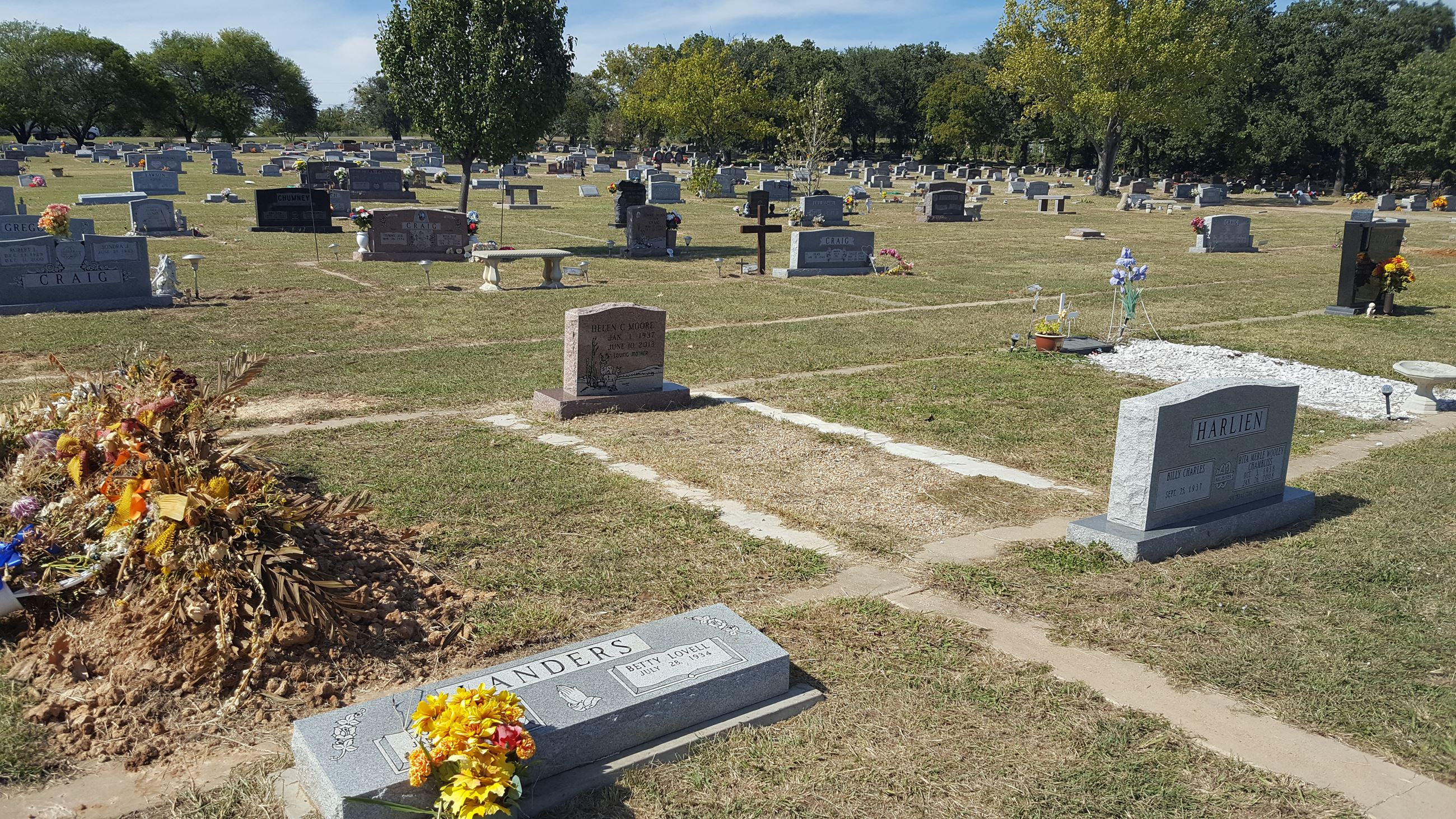 Headstones in a newer part of Oakwood Cemetery